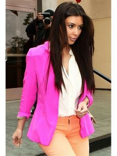 Shop this look for $93:  http://lookastic.com/women/looks/neon-pink-blazer-and-white-silk-dress-shirt-and-orange-jeans/967  — Neon Pink Blazer  — White Silk Dress Shirt  — Orange Jeans