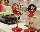 Suchhhh cute wine glasses for bridal party!