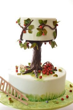 Fall wedding cake ~ all edible ~ Cake Art! I like the tree house idea, or maybe even a fairy house cake. Gorgeous Cakes, Pretty Cakes, Amazing Cakes, Unique Cakes, Creative Cakes, Fondant Cakes, Cupcake Cakes, Gravity Cake, Tree Cakes