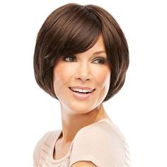 Chloe -  SMARTLACE COLLECTION by Jon Renau   Tapered with flattering side swept bangs, this chin length shag is sleek, modern and versatile. The SmartLace front and hand-tied monofilament cap create supremely natural movement.