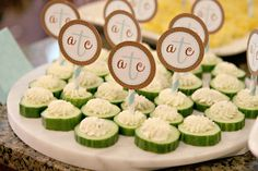 baby shower food - herbed cheese cucumber bites
