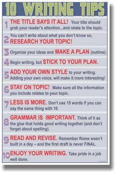 NEW POSTER - 10 Writing Tips - School Language Arts & Writing Classroom Aid in Home & Garden | eBay
