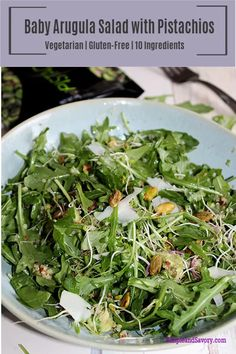 Baby Arugula Salad with Pistachios - Simple And Savory Best Salad Recipes, Lunch Recipes, Real Food Recipes, Vegetarian Recipes, Healthy Recipes, Healthy Meals, Free Recipes, Healthy Food, Healthy Eating