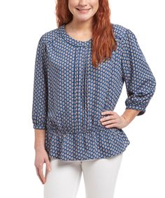Love this Blue Tulips Peplum Top by Antilia Femme on #zulily! #zulilyfinds