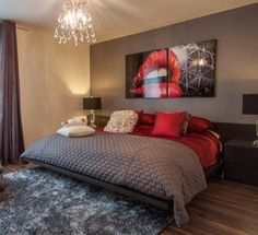 See how the brown wood (your closet), cream wall (walls and floor) combine well with the red and gray...
