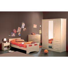 Chambre enfant mixte complète couleur claire acacia CHAPLIN ...