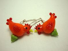 Bright Orange Glass Chicken Lover Earrings by AtypicalGeminiArtist, $18.00