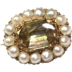 Enchanting Antique Georgian citrine and pearl brooch - circa 1820