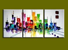 3 piece modern canvas wall art triptych Muti Abstract city handmade oil painting canvas for living room bedroom decoration