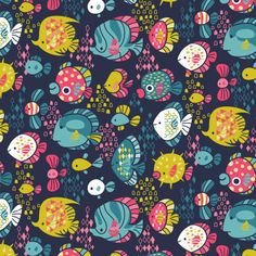 Funny Fish Pattern — Kat Uno Illustration and Design Fish Illustration, Pattern Illustration, Illustrations, Fish Patterns, Pretty Patterns, Textures Patterns, Cute Pattern, Pattern Art, Coral Pattern