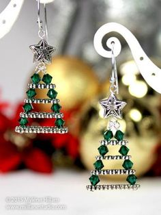 I love unexpected jewelry making ideas. These Evergreen Christmas Tree Earrings use multi-holed spacer bars with sparkly Swarovski crystals stacked in between. Christmas Tree Earrings, Beaded Christmas Ornaments, Christmas Crafts, Christmas Decorations, Christmas Trees, Xmas Tree, Whimsical Christmas, Ball Decorations, Outdoor Christmas