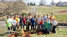 Students helped planted trees at local Knoxville Botanical Gardens during their 2014 Alternative Spring Break