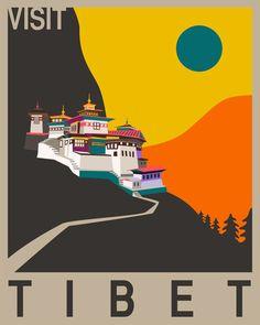 Visit Tibet Art Print                                                                                                                                                                                 Más
