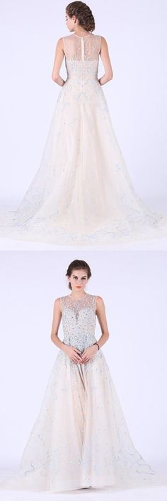 2019 Prom Dresses Scoop Tulle With Beads And Embroidery, This dress could be custom made, there are no extra cost to do custom size and color