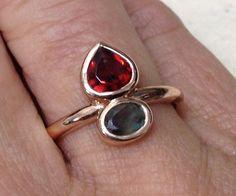 Rosegold 2 stone ring Garnet Alexandrite commission