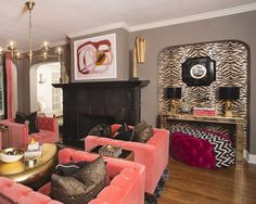 Olmos Park home with dramatic grey walls and zebra-striped wallpapered niche Interior Paint, Interior Design, Paint Companies, Moon Painting, Wallpaper Gallery, Love Your Home, Park Homes, Painting Cabinets, Room Paint