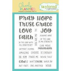 TE's Faith Hope Love clear stamp set includes various religious, motivational, inspirational and faith-based words that are sized perfectly to fit in your planner.