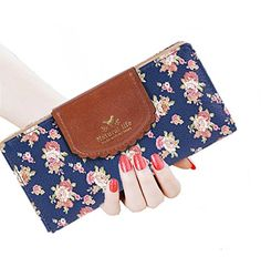 SeptCity Womens Wallet Cute Floral Soft Leather Clutch Gift for Her, 2071 (Twilight Blue)
