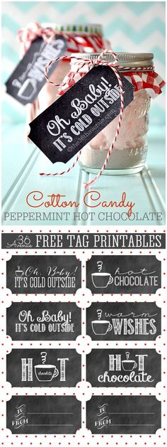 Cotton Candy Peppermint Hot Chocolate and Free Printables. Such a cute gift idea! Noel Christmas, Diy Christmas Gifts, Christmas Treats, Xmas, Jar Gifts, Food Gifts, Diy Spring, Diy Cadeau Noel, Ideias Diy