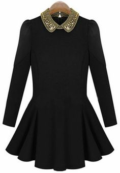 Black Bead Lapel Long Sleeve Pleated Dress pictures