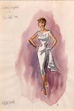 Edith Head sketch for Debbie Reynolds in The Rat Race (1960)