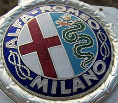 Beautiful old logo. Note the hyphen between the the two names, the savoy knots on the sides, the details of the snake and the laurel crown around it. Car Badges, Car Logos, Auto Logos, Alfa Romeo Gta, Alfa Romeo Logo, Alfa Alfa, Car Ornaments, Old Logo, Fiat Abarth