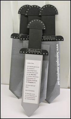 www.bestempelt.de: Einer für alle... Sword card, Kindergeburtstag, Einladung