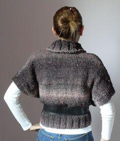 Knitted Vest Sweater Purple Pink Turtleneck - Handmade Short Sleeved - Very Soft - Knitwear Italian fashion