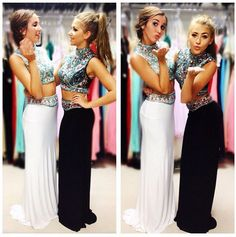 Two Pieces Prom Dress,charming Prom Dress,long Prom Dress,high Neck Prom Dress,party Dress Prom Party Dresses, Dance Dresses, Homecoming Dresses, Sexy Dresses, Beautiful Dresses, Evening Dresses, Dress Party, Fashion Dresses, Sheath Dresses
