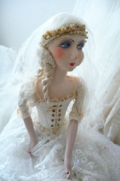ANTIQUE FRENCH BOUDOIR DOLL.PARIS EDWARDIAN WEDDING WAX.FASHION DOLL.C.1920