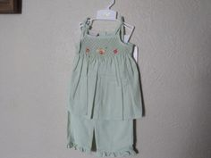 NWT Will'beth Gree Smocked 2pc Hand Embroidered Baby Girls Boutique 24 Months #Willbeth #Casual