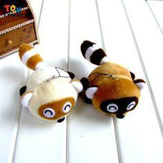 Wholesale 100pcs cartoon  raccoon Procyon lotor doll mobile phone key chain pendant plush toys wedding birthday party gift