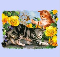 Kitten Play T Shirt, Two Kitty Cats Romping & Playful, Adorable, Small - Kittens Playing, Cats And Kittens, Tabby Cats, Mosaic Crosses, Creation Photo, Paint By Number Kits, Animation, Cat Wallpaper, Cross Paintings