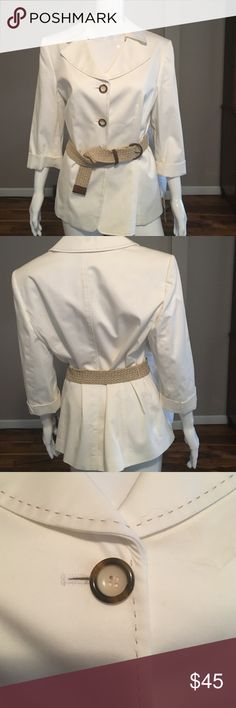 NWT Winter white jacket size 14 Lovely Never been worn, white jacket w cuffed sleeves and tan stiching. Cotton/spandex blend. Size 14. Alex Marie Jackets & Coats Blazers