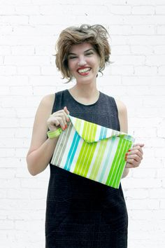 SALE Envelope Clutch  Stripes Purse  Christmas by DayOffDesign