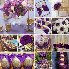 Purple and Gold Wedding Colours - Wedding colors - OOOvb Purple And Gold Wedding Themes, Royal Purple Wedding, Beach Wedding Colors, Purple Party, Royal Wedding Themes, Purple Beach, Purple Wedding Centerpieces, Gold Wedding Decorations, Wedding Ideas