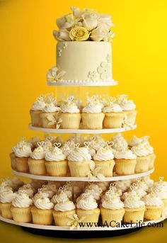 Ceremony, Flowers & Decor, white, yellow, Cupcakes, Round, Roses, A cake life