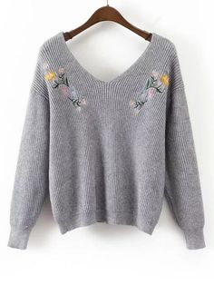 Up to 70% OFF! Loose V Neck Floral Embroidered Sweater. Zaful,zaful.com,zaful online shopping, sweaters&cardigans, sweater,sweaters,cardigans,choker sweater,chokers,chunky sweater,chunky,cardigans for women, knit, knitted, knitting, knitwear, cardigan, cardigan outfit,women fashion,winter outfits,winter fashion,fall outfits,fall fashion, halloween costumes,halloween,halloween outfits,halloween tops. @zaful Extra 10% OFF Code:ZF2017
