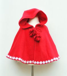 Red Poncho  Baby Cape  Girls Poncho  Infant by KKchildrendesigns, $56.00