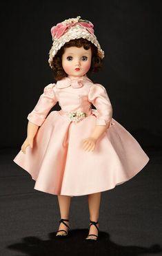 1950s Fashion, Fashion Dolls, Shoulder Length Curls, Dark Brunette Hair, Curly Bangs, Taffeta Dress, Madame Alexander Dolls, How To Draw Hair, Hello Dolly