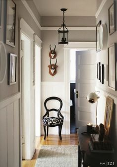 """trim instead of crown molding, could paint white above trim for large """"crown"""" look, love wainscoating"""