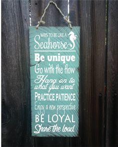 seahorse decor, seahorse decoration, seahorse sign, be like a seahorse, seahorse wall decor, advice from seahorses