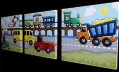 """Planes, Trains, and Trucks - Canvas Paintings for Children MADE TO ORDER set of three paintings on canvas each 20"""" x 20"""" on Etsy, $350.00"""