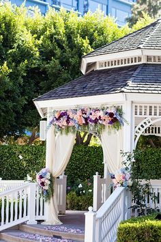 A wedding ceremony in the Rose Court Garden at the Disneyland® Hotel comes complete with a white gazebo where you will say your vows. Outdoor Gazebos, Backyard Gazebo, Wedding Backyard, Wedding Gazebo, Wedding Ceremony, Dream Wedding, Pavilion Wedding, Backyard Pavilion, Wedding Entrance