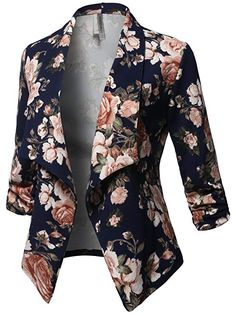 Awesome21 Women's Stretch 3/4 Gathered Sleeve Open Blazer Jacket at Amazon Women's Clothing store: Blazer Fashion, Suit Fashion, Look Fashion, Fashion Outfits, Casual Work Outfits, Professional Outfits, Blazers For Women, Jackets For Women, Look Blazer