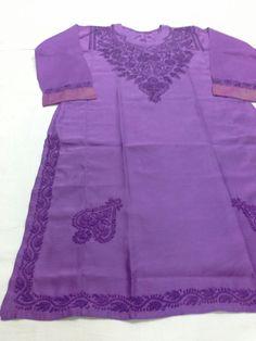 "Long Kurti Silk fabric ""Lucknow Chikan"" Hand Embroidery [*Sfq*] Chikankari Suits, Silk Kurti, Kurta Designs Women, Hand Embroidery Designs, Silk Fabric, Handicraft, Lady, Craft, Arts And Crafts"