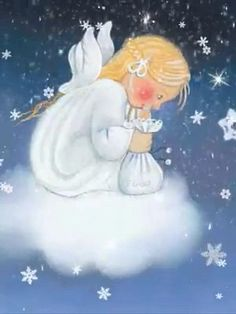 Little angel 👼 - Good Night Angel, Good Night Prayer, Good Night Blessings, Good Night Gif, Good Night Image, Merry Christmas Gif, Christmas Scenes, Christmas Wishes, Christmas Pictures
