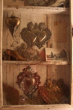 Ex Voto's, mercury hearts and metal items from the Eric Cortina Collection.