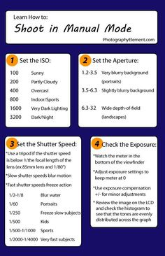 Photography Tips | Manual exposure mode is the best way to get to know your camera better. The cheat sheet below covers a basic workflow when taking pictures using manual exposure. Save it, print it, put it in your camera bag, share it with your friends!