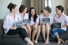Cute photo-op for you & your bridesmaids -- Chalkboard Signs of where you met ;) See more on SMP Weddings: http://www.StyleMePretty.com/california-weddings/2014/05/24/diy-long-meadow-ranch-wedding/ Photography: JennaBeth.com